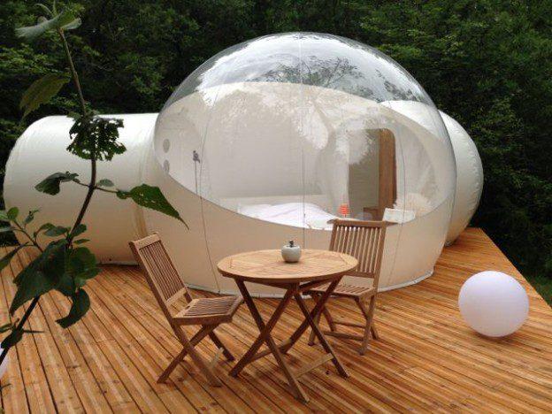 La bulle sur sa terrasse